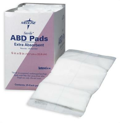 "Medline Sterile Super Absorbent Abdominal Pad, 5"" x 9"", Box of 25 - NON21450H"