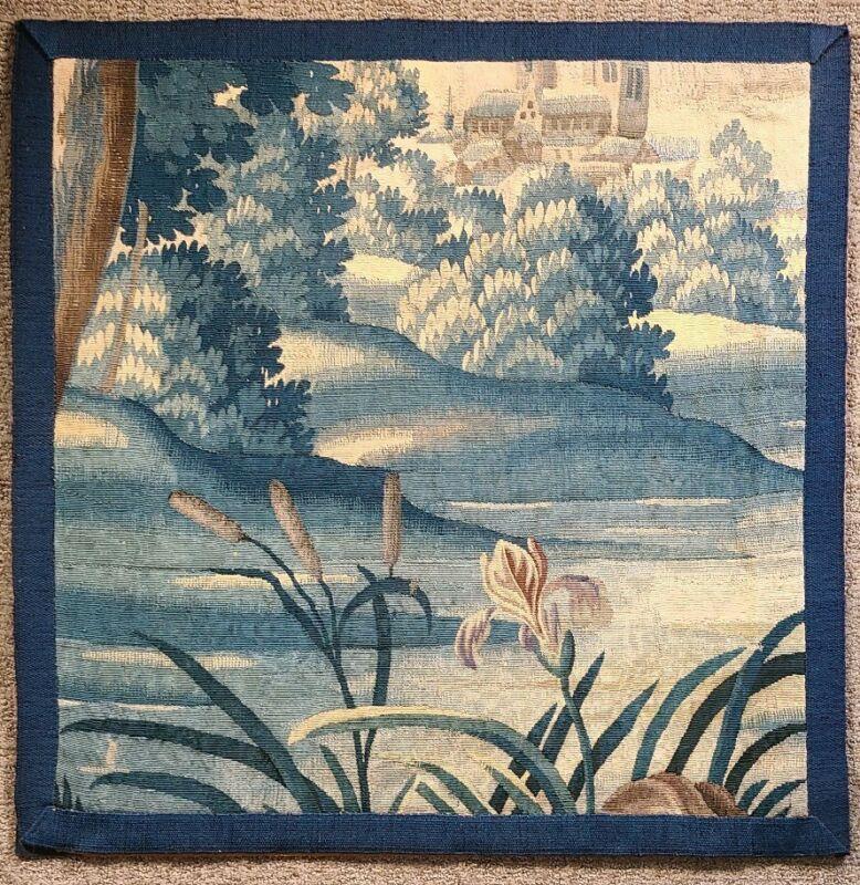 Antique Verdure Tapestry Fragment 18th C French Flemish Belgian Aubusson 1700s