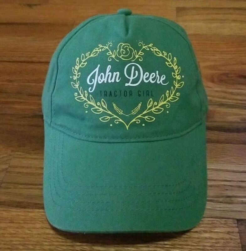 John Deere Tractor Girl Green Youth Baseball Hat Cap Adjustable Strapback EUC