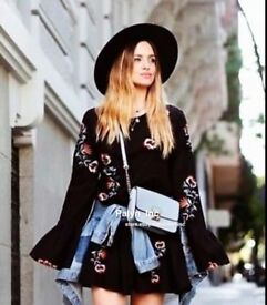 Dress Mini Zara Black Flowers Must Have