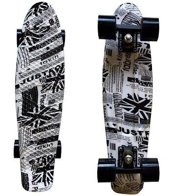 LMAI 22'' Cruiser Skateboard Graphic Newspaper Board Complete Retro Penny Style