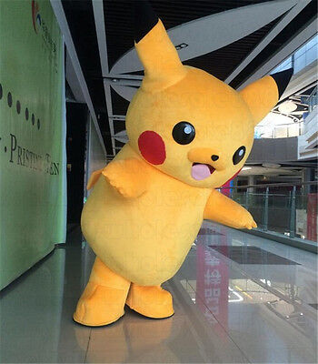 Pikachu Mascot Costume (2018 Pikachu Mascot Costume Pokemon Go Cosplay Clothing Adults Party Fancy)