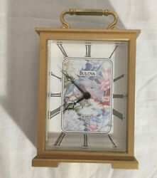 BULOVA Quartz Battery Clock Shelf Small Mantel Desk Picture #B8199 Flower Print