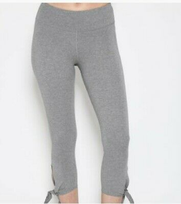 SATVA MOVEMENT UNITY CAPRI GRAY LEGGINGS ORGANIC COTTON YOGA DANCE PILATES GYM