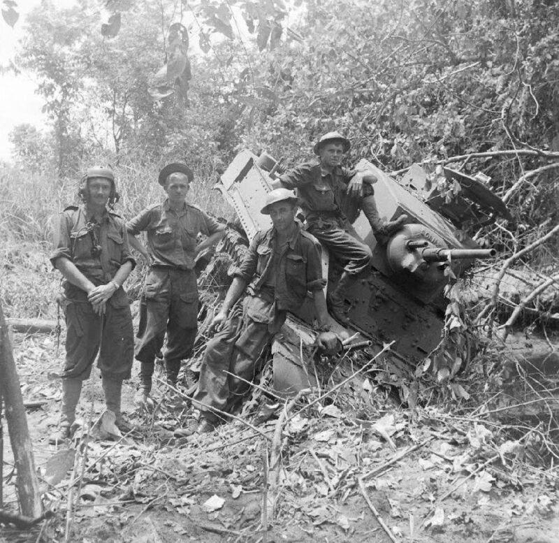 WW2 Photo WWII Stuck Australian  M5 Stuart Tank  New Guinea  World War Two /3131