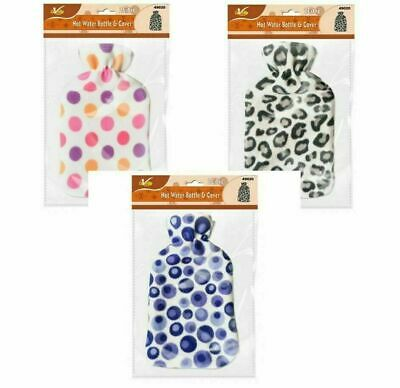 2L HOT WATER BOTTLE WITH SOFT COVER Fleece Natural Rubber Winter Warm Great Gift