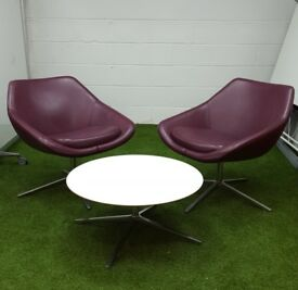 White Allermuir open circular coffee table cheap office furniture harlow