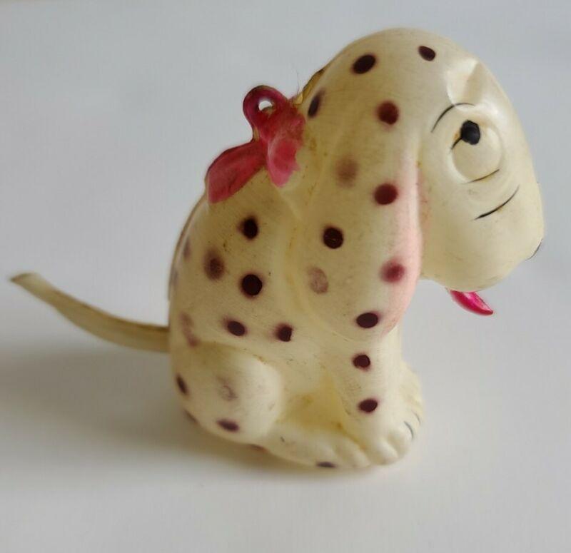 Vintage Dismal Desmond celluloid dog ornament 1927 Brown polka dots Dalmatian