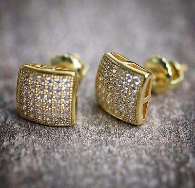 NEW MENS 14K YELLOW GOLD LAB DIAMOND HIP HOP SMALL SCREW BACK MINI STUD EARRINGS 14k Gold Mini Earrings