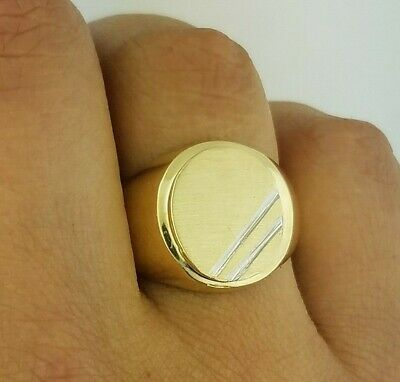 10K Solid Yellow Gold Mens Oval Plain Signet Ring 5 grams Father's Day Gift - Mens Solid Oval Signet Ring