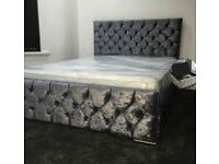 3 COLORS --50% OFF CHESTERFIELD BED CRUSHED VELVET DOUBLE BED WITH MATTRESS OPTIONS