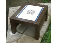 table made from recycled wood tiles etc look great on patio or conservatory