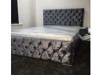 💖 Supreme Quality 💖 CHESTERFIELD BED CRUSHED VELVET DOUBLE BED WITH MATTRESS OPTIONS