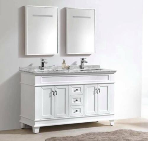 60″ Classic Double sink Vanity solid wood in white color
