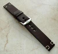 Leather brown watch band 26mm tan stitch EU handmade strap