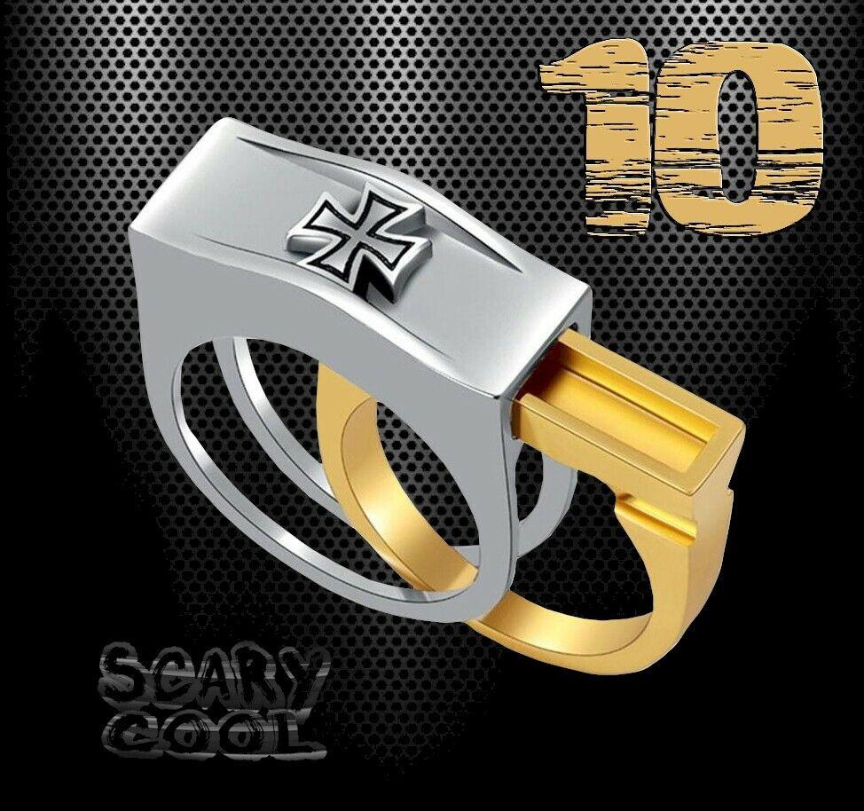 New Iron Cross Secret Compartment Head Silver Gold Mens Gothic Biker Ring