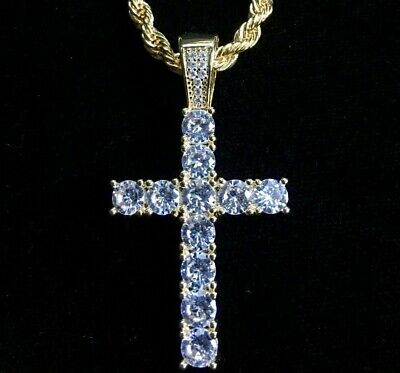 Cross Pendant Tennis Solid 18K Gold P Lab Diamond Cuban Link Necklace Chain Rope Lab Square Pendant