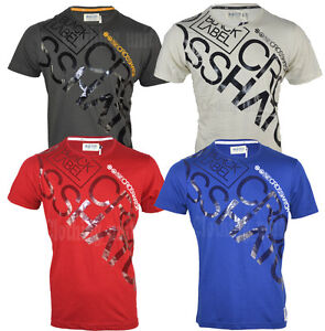 Mens-Crosshatch-T-shirt-Laydown-Logo-Crew-Neck-Cotton-Printed