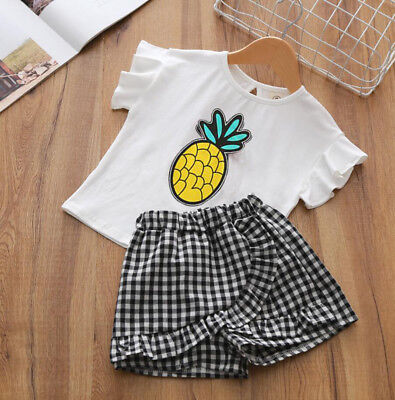 Summer outfits for baby girls cotton T-shirt &short Pants kids holiday daily Set (Kids Outfits For Girls)