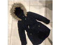 Jasper Conran Navy Blue Girls Coat 5/6 yrs