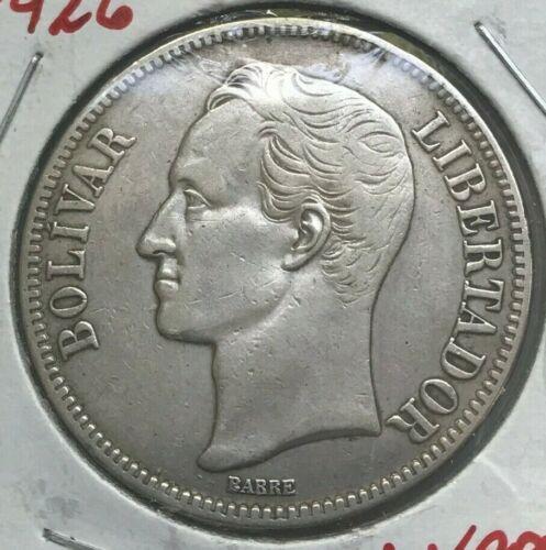 1926 Venezuela 5 Bolivares - Big Silver