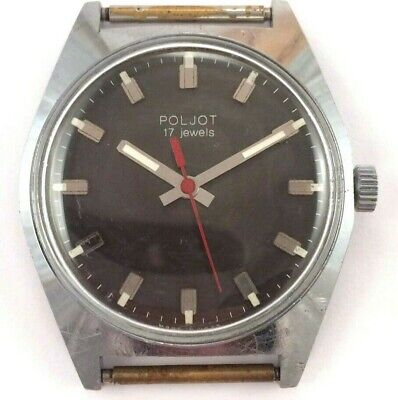 Vintage Soviet Poljot windup watch Nice Dial,USSR Serviced *US SELLER* #1579
