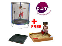 NEW Plum 5ft Junior Trampoline with Enclosure and FREE Junior Wooden Sandpit
