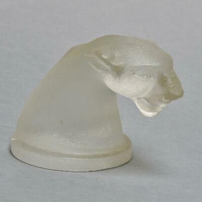 VINTAGE FROSTED TEXTURED GLASS PANTHER HEAD PAPERWEIGHT