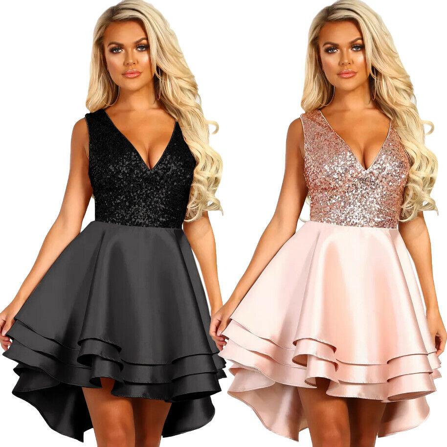 Mini abito elegante donna paillettes sexy vestito corto cerimonia sera DS220591