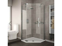 Brand new, unused Corner shower enclosure with shower tray 800mm