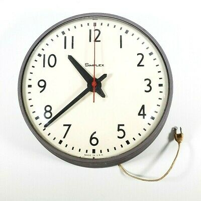 VINTAGE SIMPLEX SCHOOL CLOCK 95925 W/ SYNC 14 INCH, STEAM PUNK