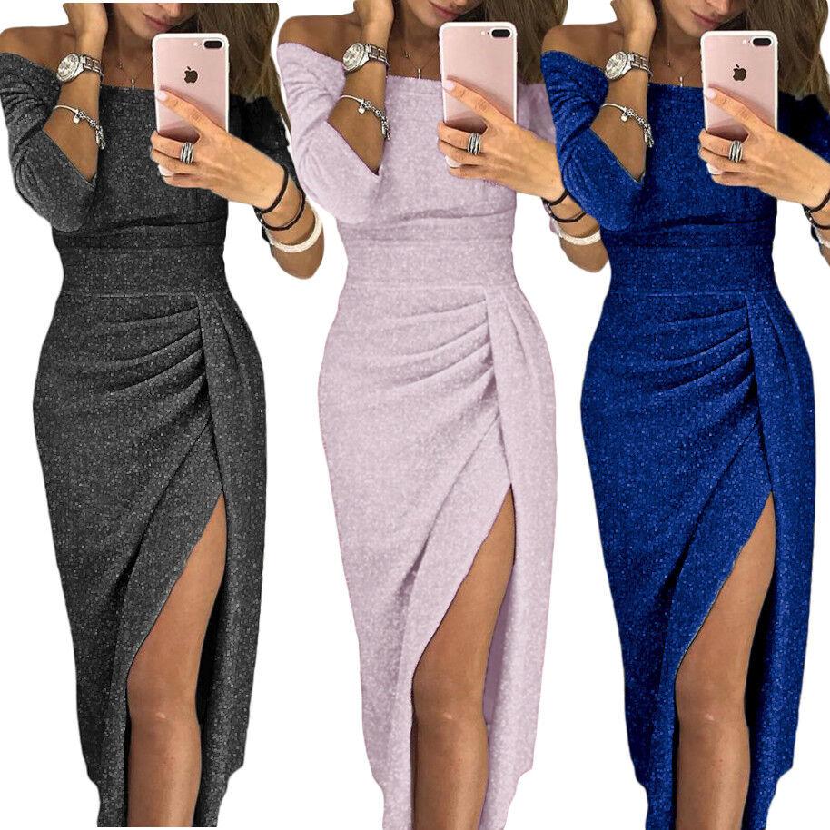 Vestito lungo elegante donna abito da sera laminato manica lunga spacco DS610566