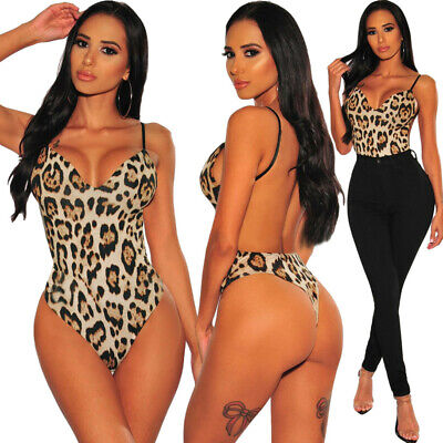 Body donna leopardato sexy lingerie aderente intimo teddy top sottogiacca D32434
