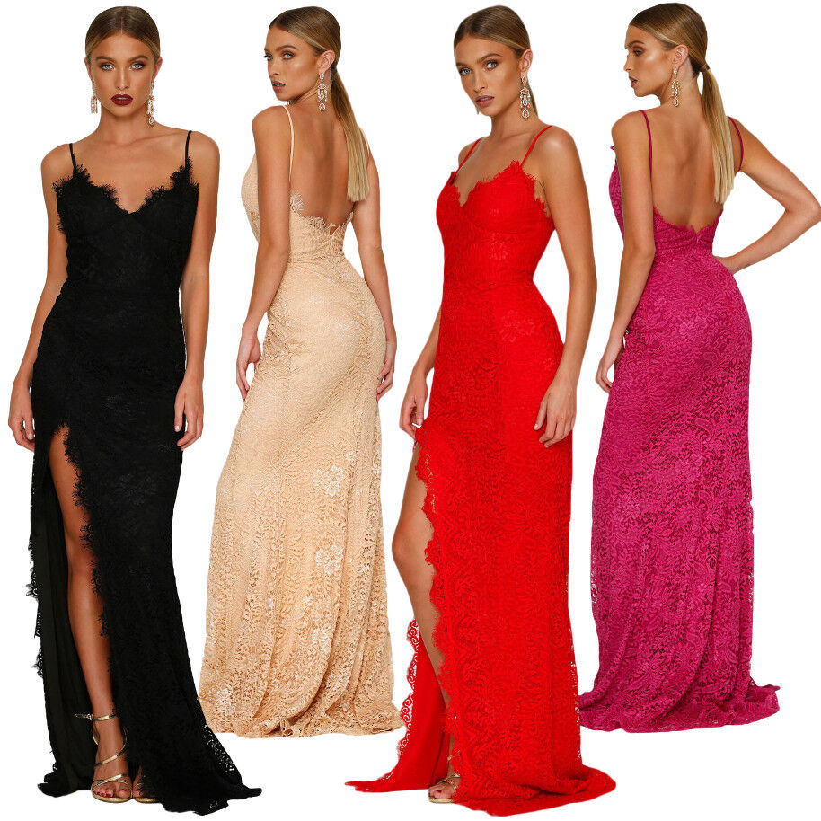 Vestito lungo donna pizzo maxi abito da sera elegante cerimonia spacco DS61696