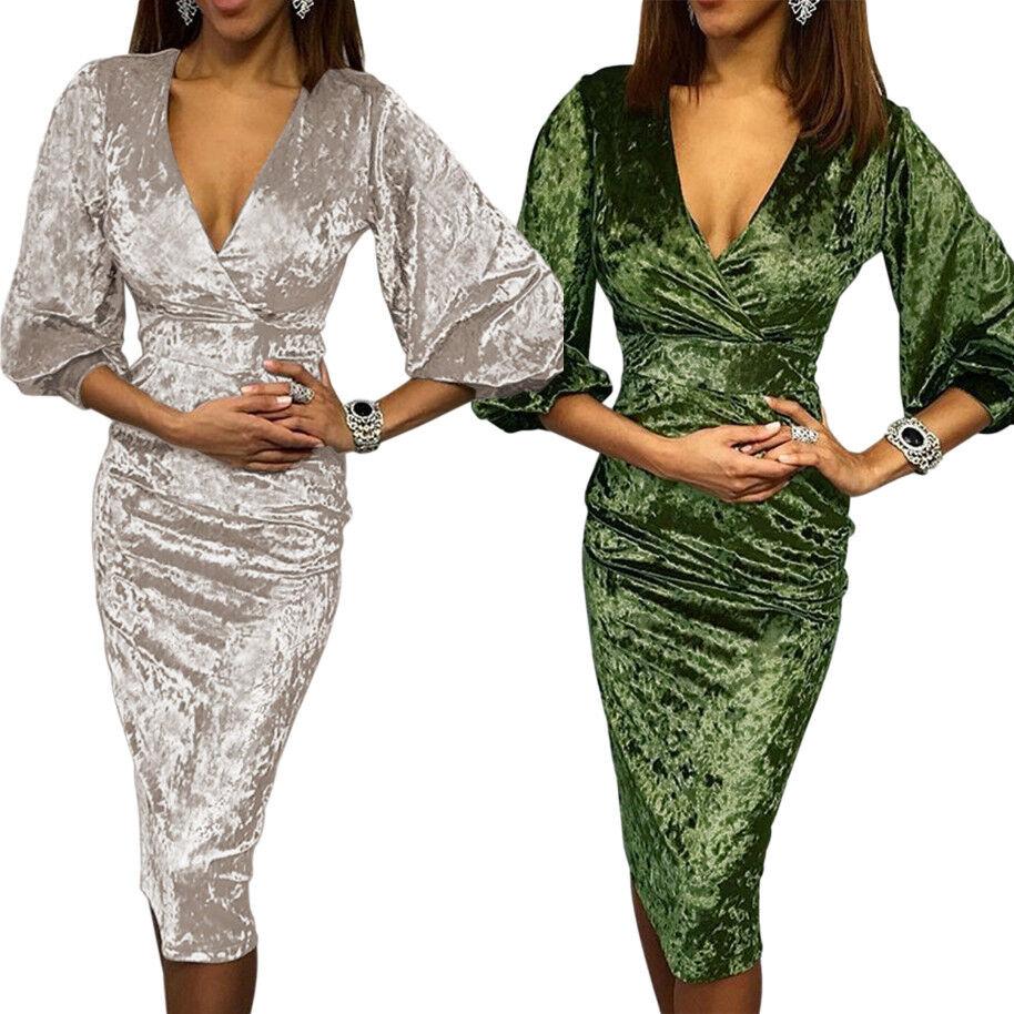 Vestito da sera donna sexy abito elegante velluto manica 3/4 aderente D611048