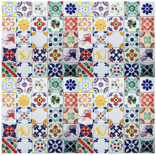 "100 4x4 "" White Desings Mexican Tile Handmade Talavera Backsplash Folk Art"