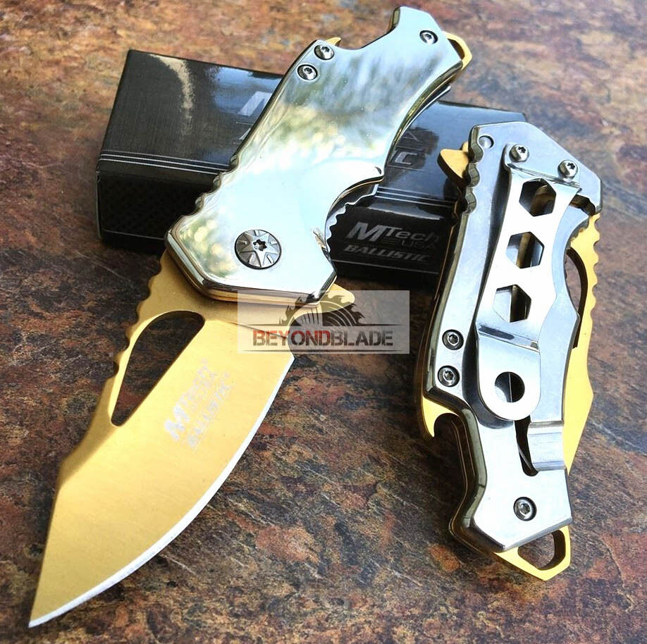 MTech USA Small Gold Blade Tatical Hunting Rescue Pocket Kni