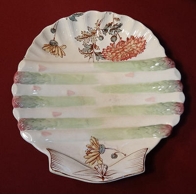Victorian Pottery ASPARAGUS Serving Tray Plate Aesthetic Flower Shell Shape