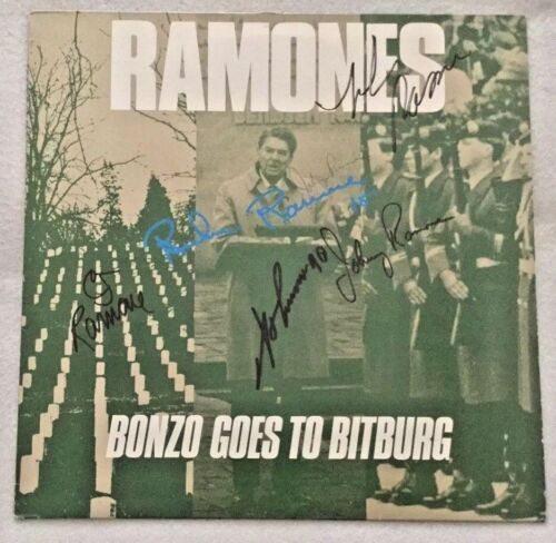 "Autographed/Signed Ramones ""Bonzo Goes To Bitburg"" Vinyl Single UK Import"