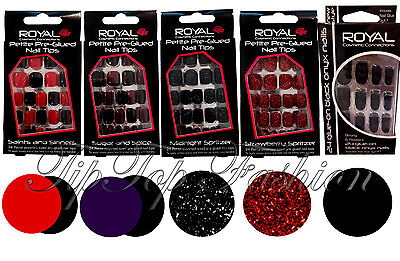 New Royal Cosmetics 24 Petite Assorted Sized Pre Glued Nail Tips Halloween - Pre Halloween Makeup