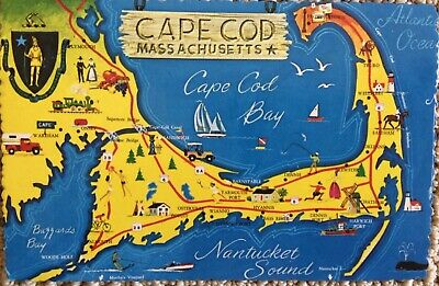vintage Cape Cod MA map postcard scalloped edge unposted