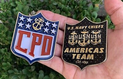 USN Navy America's Team Game CPO Chief Mess NFL Football Challenge Coin Non -
