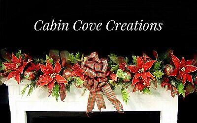 Decorated Christmas Mantel Garland Swag Tartan Bow Poinsettias - Christmas Mantel Decorations