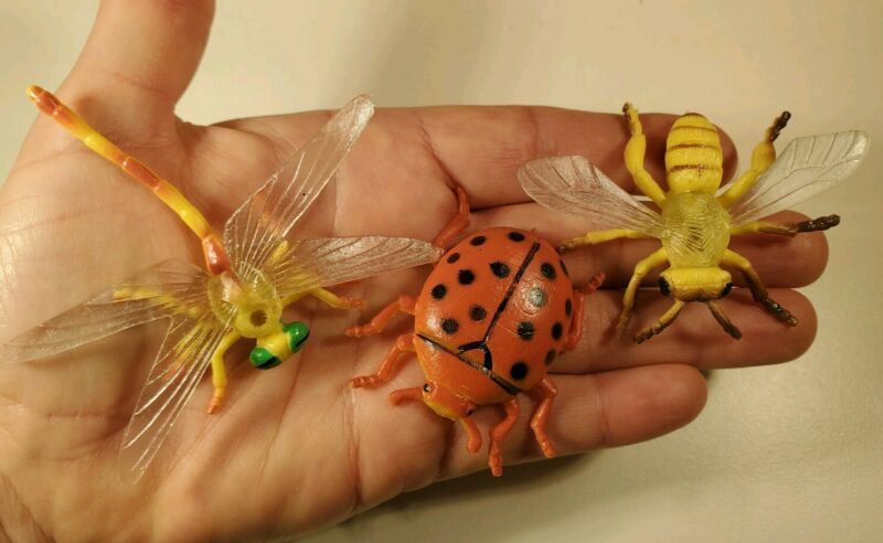 """Insect Toy Figure Lot Dragonfly Bee Ladybug Lot 2-3"""" PVC Rubber NEW NIP"""