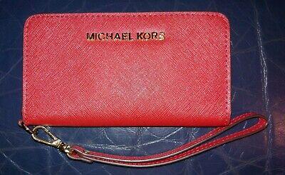 MICHAEL KORS Red Crossgrain Leather Wristlet Wallet Phone Holder Snap Closure