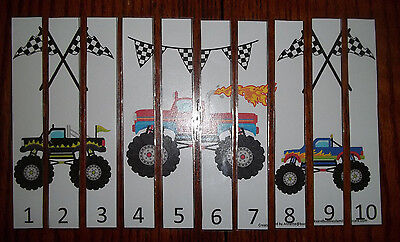 Monster Truck themed 1-10 Number Sequence Puzzle and Game Board.  Laminated game