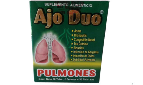 NEW IN BOX AJO DUO PULMONES ASMA-BRONQUITIS-SINUSITIS-TOS CRÓNICA-FREE SHIPPING