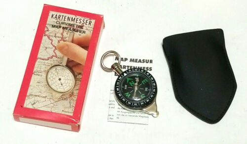 Vintage Map Measurer Inches to Miles Centimeters to Kilometers and Compass NIB