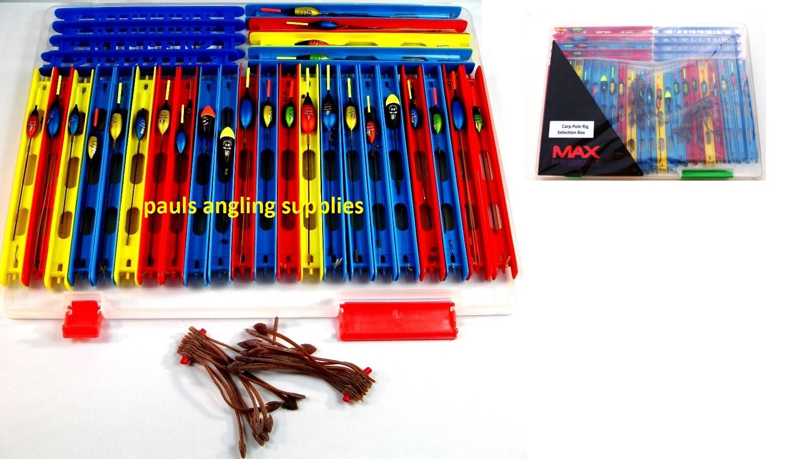 Spare Winders /& Anchors. Set of 14 Assorted Pole Rigs in Winder Box