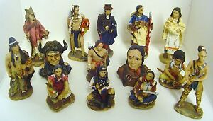 Set Of 14 Resin Cast Native American Indian Figures *BRAND NEW*